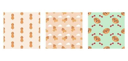 Set Character Seamless Pattern Animal Of Cute Poodle Dog Can Be Used as Designs Wallpapers or Backgrounds. Vector Illustration