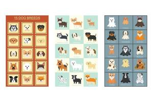 Collection of Cute Animals in Different Types of Dogs Can Be Used as Designs On Clothes, Wallpapers, Backgrounds. Vector Illustration