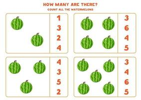 Count the amount of watermelons and circle right answer. vector