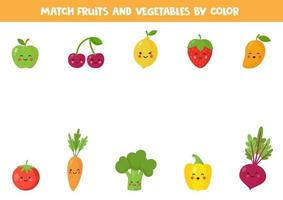 Match fruits and vegetables by color. Game for kids. vector