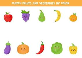 Color matching game with cute kawaii fruits and vegetables. vector