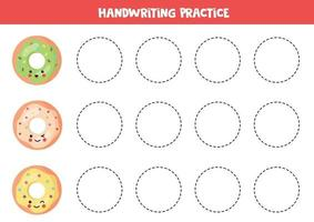 Tracing lines with cute kawaii donuts. Educational game. vector