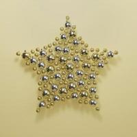 Beautiful Christmas ornament background arrangement in star shape photo