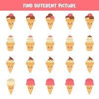 encuentre diferentes helados en cada fila. juego de lógica. vector