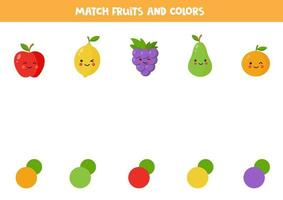 Cute colorful kawaii fruits. Color matching game. vector