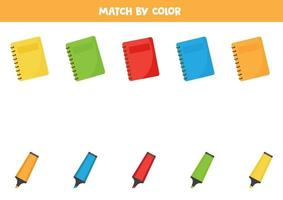 Color sorting game for kids. Matching notebooks and highlighters. vector