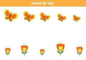 Match butterfly and flower by size. Educational game for kids. vector