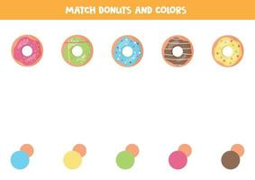 Color matching game for kids. Cute cartoon donuts. vector