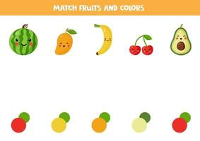 Color matching game with cute kawaii fruits. vector