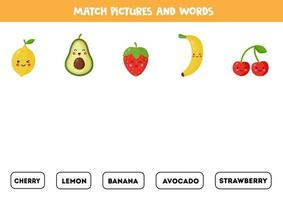 Match fruits and berries with the written words. vector