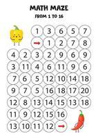 laberinto matemático para niños de 1 a 16. lindos pimientos kawaii. vector