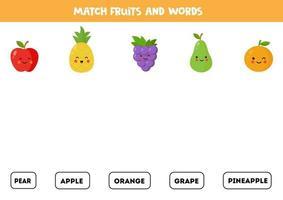 emparejar frutas con las palabras. juego de gramática inglesa. vector