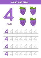 hoja de trabajo para aprender números con lindas uvas. número cuatro. vector