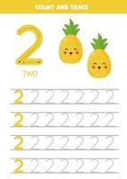 hoja de trabajo para aprender números con lindas piñas. Número 2. vector