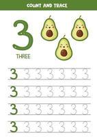 hoja de trabajo para aprender números con lindos aguacates kawaii. número tres. vector