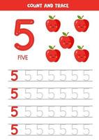 Worksheet for learning numbers with cute apples. Number 5. vector