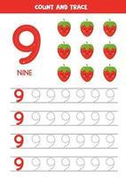 hoja de trabajo para aprender números con lindas fresas kawaii. número nueve. vector