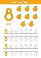 hoja de trabajo para aprender números con lindas naranjas kawaii. numero 8. vector