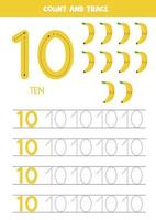 Worksheet for kids. Seven cute cartoon bananas. Tracing number 10.