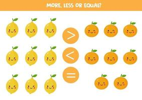 More, less, equal. Comparison of cute kawaii lemons and oranges. vector
