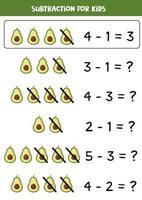 Subtraction with cute cartoon avocado. Math game. vector