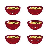 Cute Ramen Noodle with Expression vector