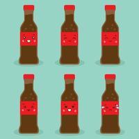 linda botella de cola con expresión vector
