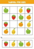 Sudoku for kids with cute kawaii apple, orange, strawberry and lemon. vector
