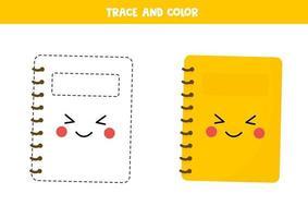práctica de escritura a mano para niños en edad preescolar con un lindo cuaderno kawaii. vector