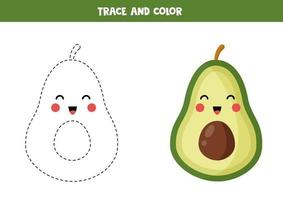 Trace and color cute kawaii avocado. Handwriting practice for children. vector