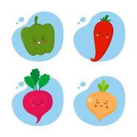 juego de 4 verduras kawaii vector