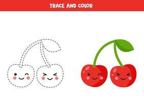 Trace and color cute kawaii cherries. Handwriting practice for children. vector