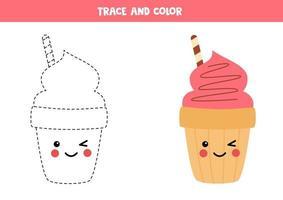 Tracing lines with cute cartoon ice cream cone. vector
