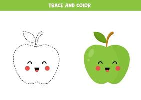 Trace and color cute kawaii green apple. Educational worksheet. vector