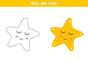 Traza y colorea la linda estrella de mar kawaii. habilidades de escritura. vector