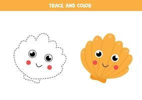 Trace and color cute kawaii seashell. Writing skills. vector