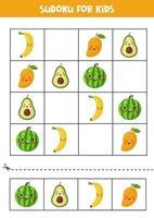 sudoku con lindas frutas kawaii. rompecabezas para niños. vector
