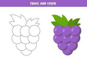 práctica de escritura a mano para niños en edad preescolar con una linda uva kawaii. vector