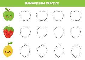 trazar líneas para niños. practicar la escritura con frutas. vector