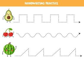 Tracing lines with cute kawaii avocado, cherry, watermelon. vector