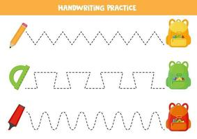 Tracing lines for kids. Practicing writing skills for preschoolers. School items vector