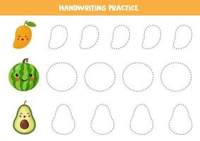 Tracing lines with cute kawaii mango, watermelon, avocado. vector