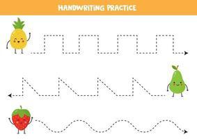 traza las líneas con lindas frutas kawaii. Practica de la escritura. vector