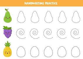 práctica de escritura a mano con lindas peras, uvas y piñas kawaii. vector