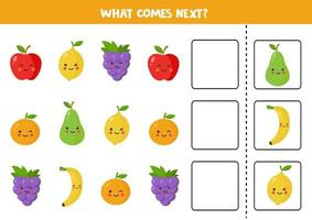 What comes next with cute kawaii fruits. vector