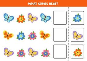 What comes next with cute flowers and butterflies. vector