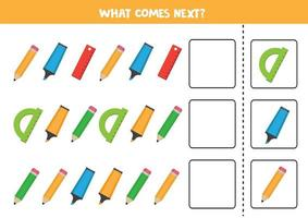 Logical game with pencils, highlighters and rulers. Continue the sequence. vector