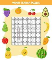 Words search puzzle for children. Set of colorful fruits. vector