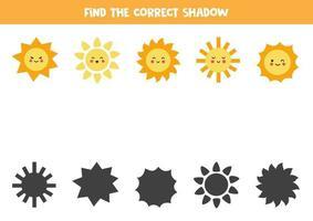 encuentra la sombra correcta de lindos soles. rompecabezas lógico para niños. vector
