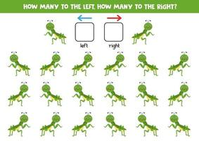 Left, right, up or down. Spatial orientation with cute praying mantis. vector
